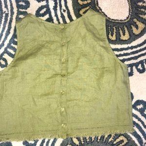 NWOT Etam Green Linen Top with back buttons